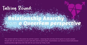 dark purple background. light blue splatter as background of white font announcing the topic of relationship anarchy.light rose disclaimer as footer asking people to tell us if the do not identify with a queer identity before they come to the meeting